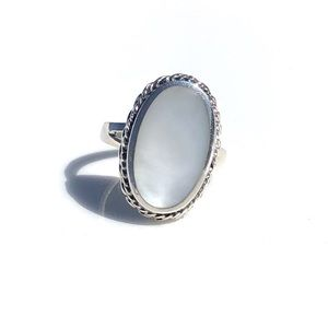 Vintage Sterling Silver Ring Sz 6 Mother of Pearl
